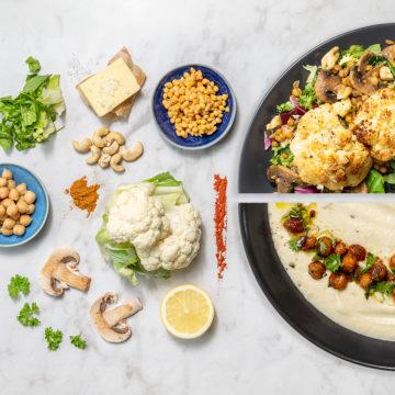 meal prep, Helbakad blomkål med svampfräs och crunchiga nötter + Rostad blomkålssoppa med heta kikärtor