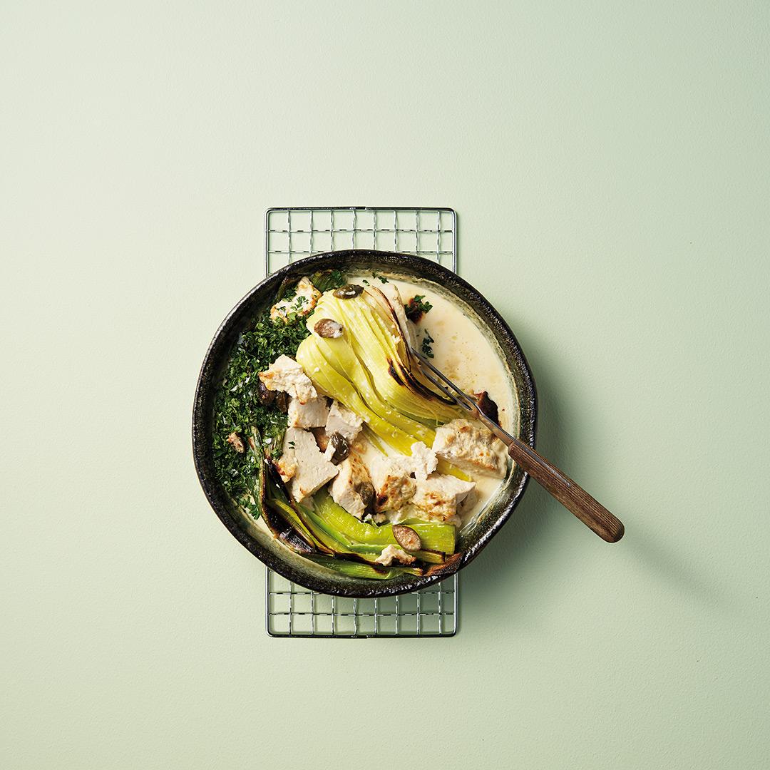 gratinerad purjolök med tofu