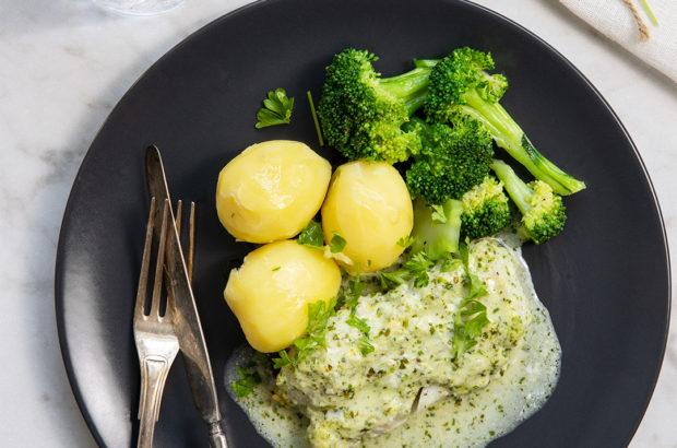 Gremolatabakad torskfilé med kokt potatis