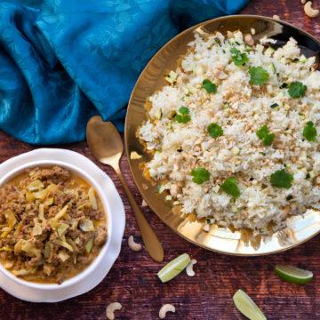 Indisk köttfärssås med kryddigt ris