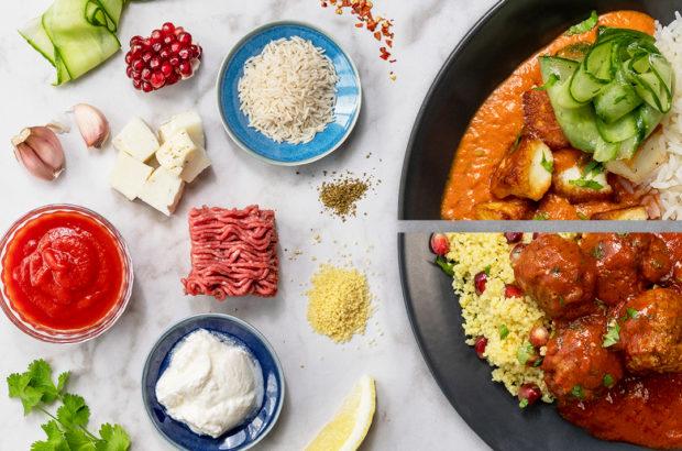 meal prep, Indiska köttbullar i kryddig tomatsås med couscous + Halloumistroganoff med syrlig gurksallad