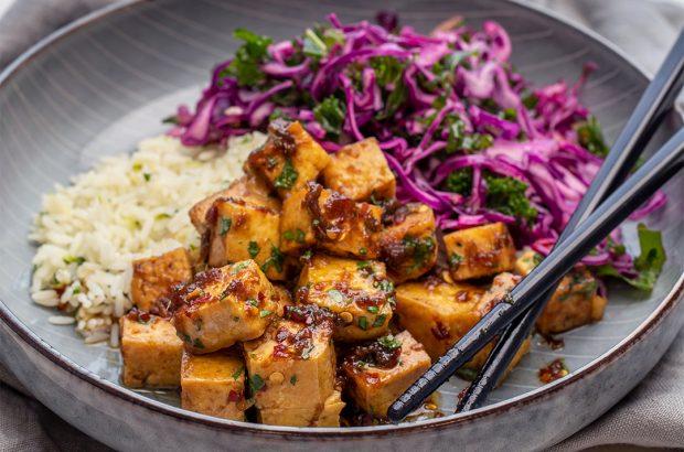 Karamelliserad tofu med limeris