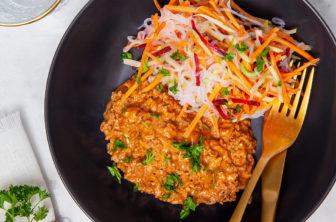 Krämig köttfärssås med shiratakinudlar