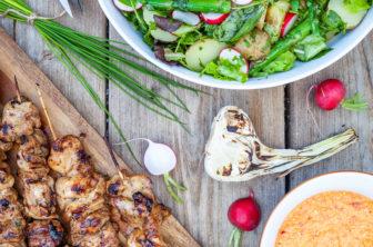 kycklingspett med grillad paprika