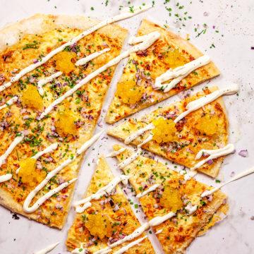 Lyxig pizza med tångpärlor