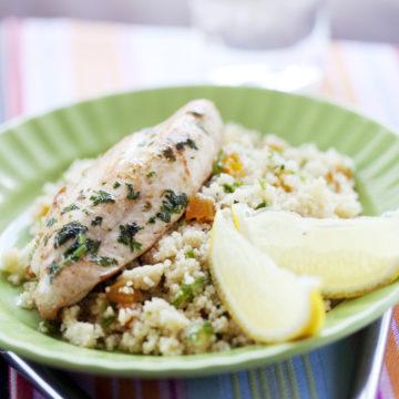 Majskycklinglår med libanesisk couscous