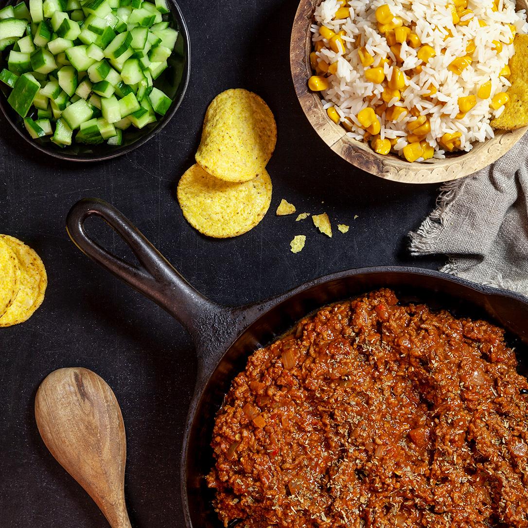 Mexikansk köttfärssås med krispigt majsris och nacho
