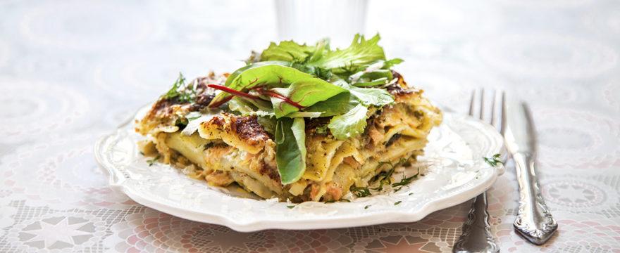 laxlasagne, lasagne med lax
