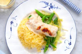 Parmesangratinerad torskrygg med pressad potatis