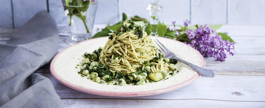 pasta med grönkålspesto
