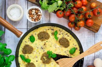 Potatisfrittata med ricotta och pestotopping v.17