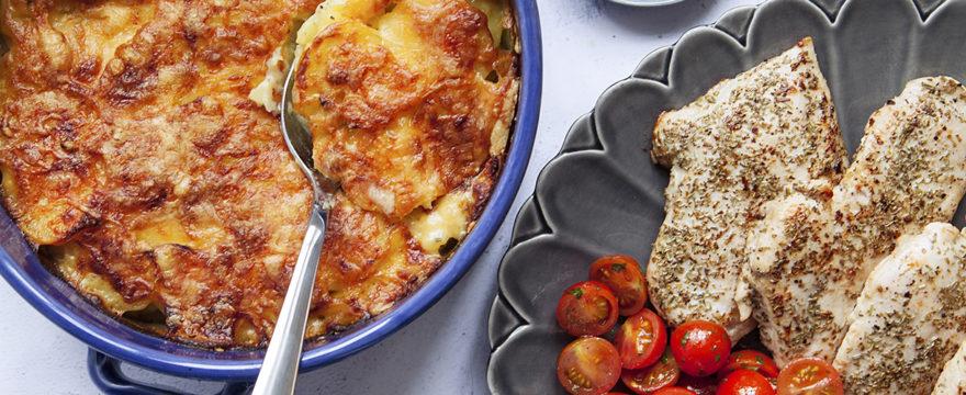 kyckling med rosmarin, potatisgratäng