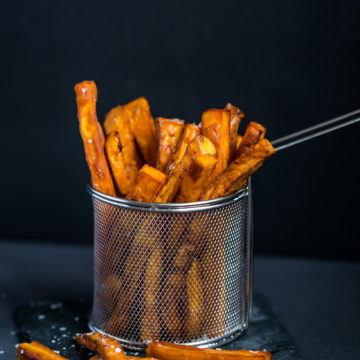 sötpotatispommes, frites