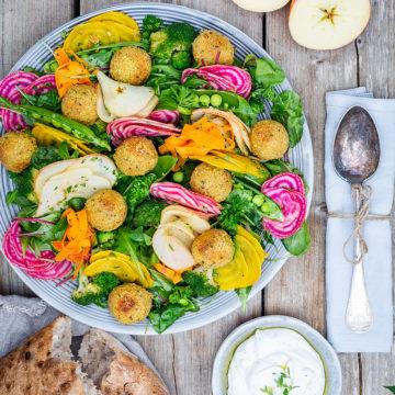 Falafelbollar med skördesallad och fetaostdipp