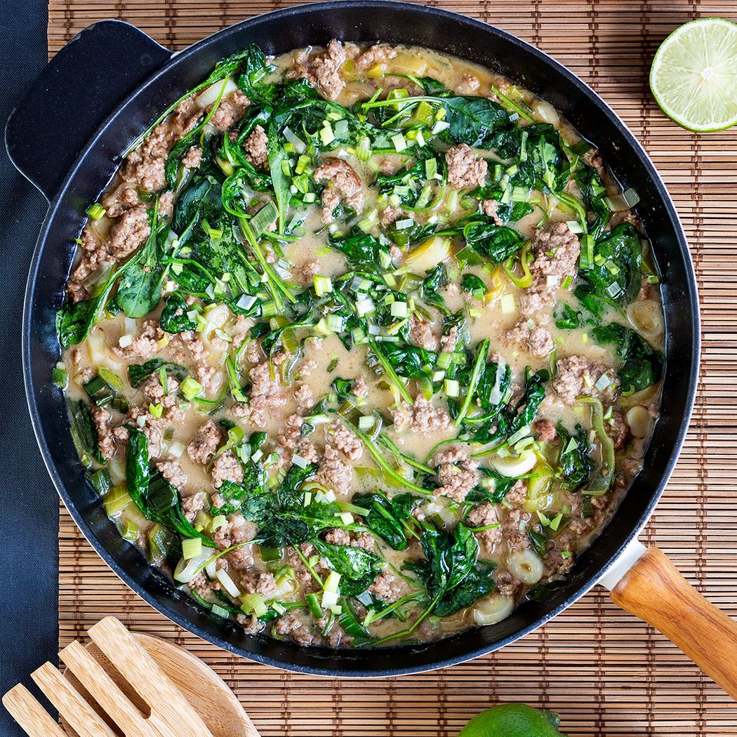 Snabb asiatisk köttfärsgryta med ris