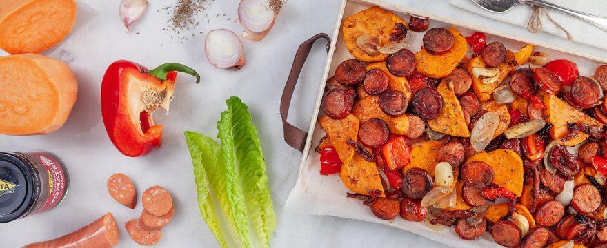 rostad sötpotatis med vegochorizo