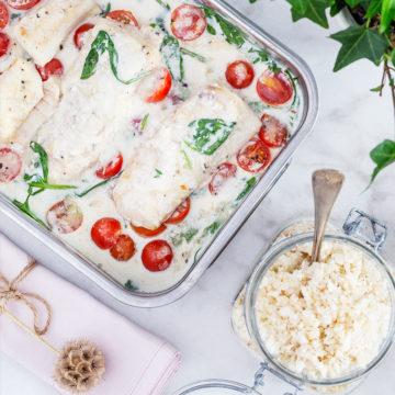Torsk på spenatbädd med parmesanris