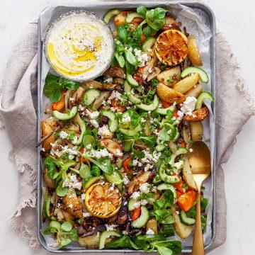 Allt på en plåt – ugnsrostad potatis med linser och fetaost
