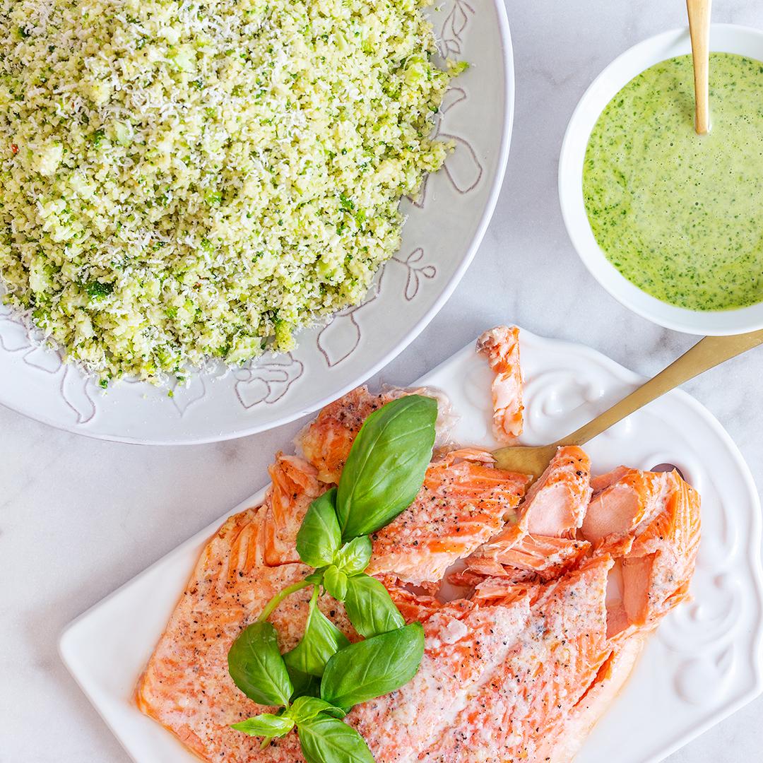 Ugnsstekt lax med grön couscous