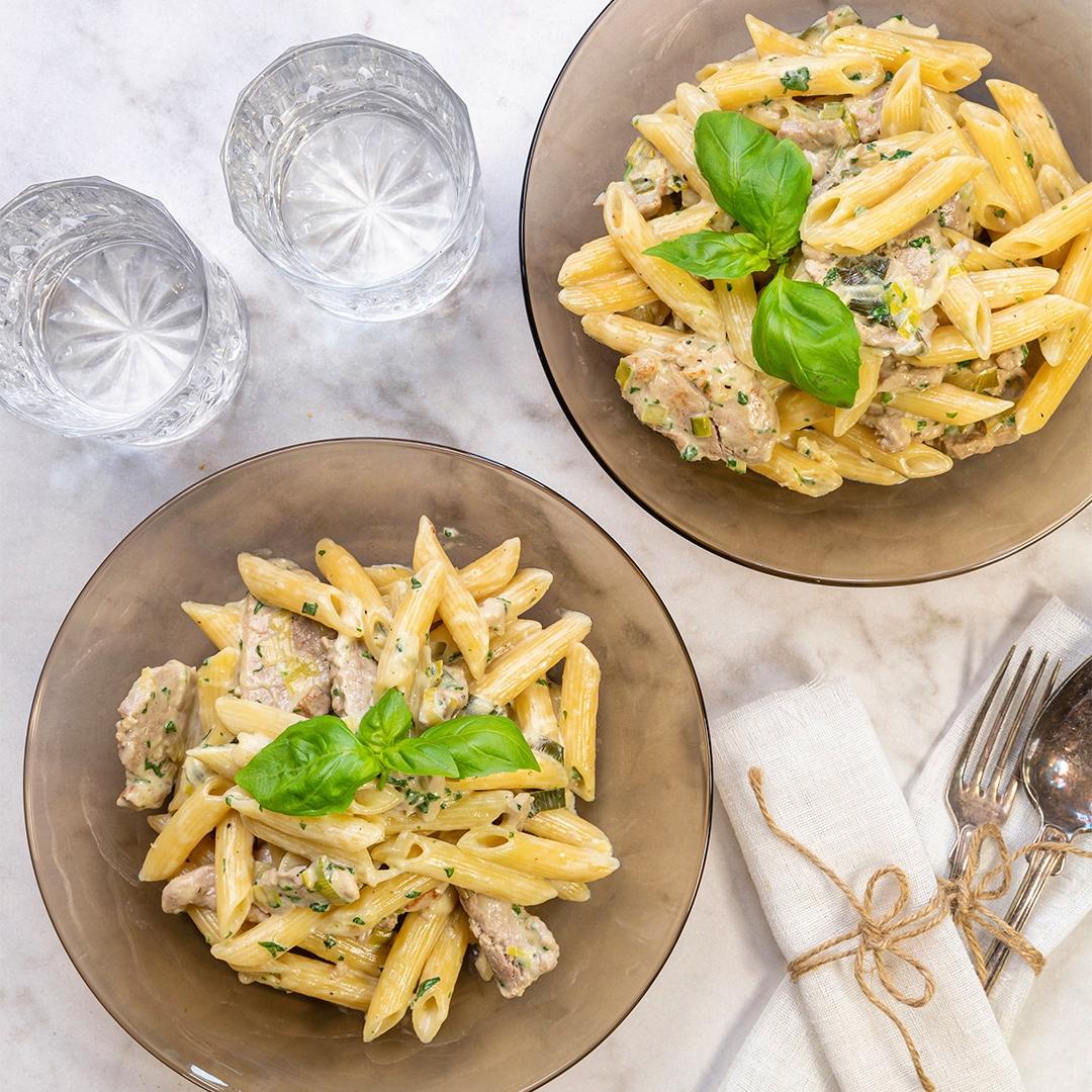 fläskfile och pasta