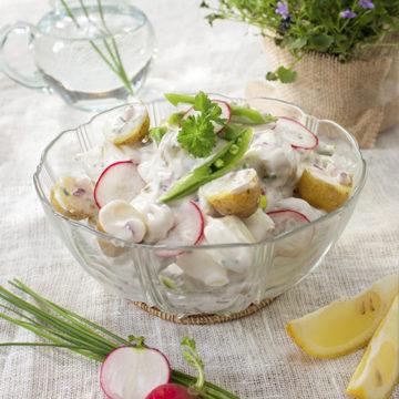 Krämig potatissallad med rädisor